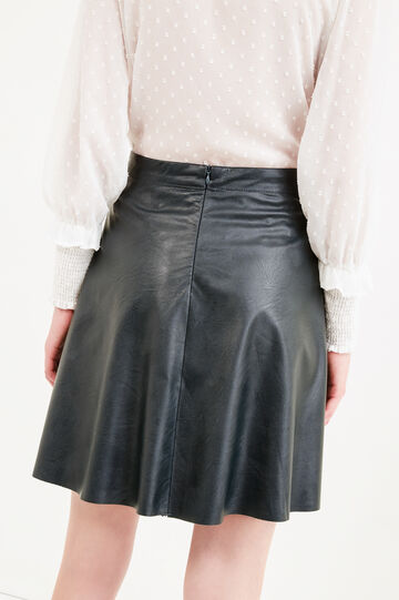 High-waisted leather-look skirt, Forest Green, hi-res