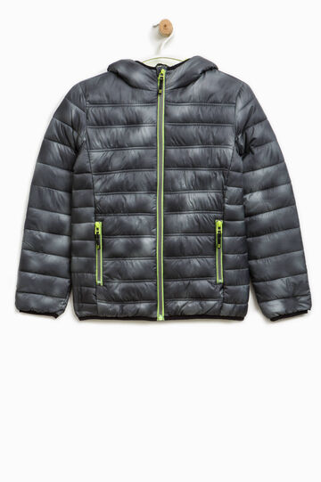Down jacket with bow and all-over print, Grey/Green, hi-res