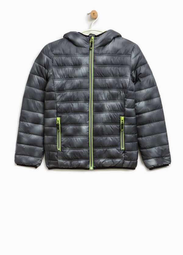 Down jacket with bow and all-over print | OVS