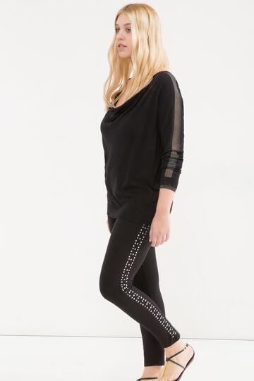 Curvy stretch diamanté leggings, Black, hi-res