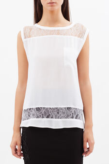 Sleeveless top with semi-sheer inserts, Milky White, hi-res