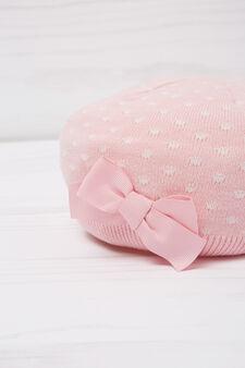 Polka dot beret in cotton, White/Pink, hi-res