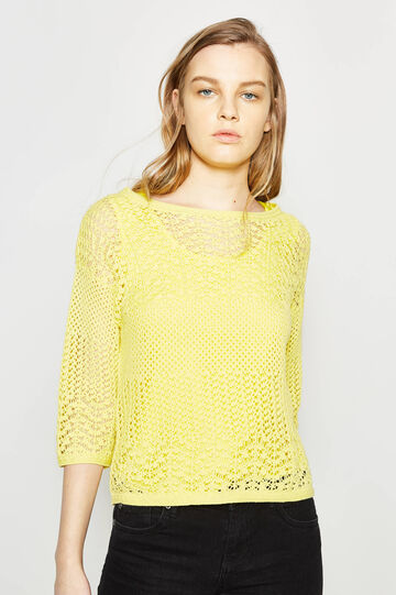 Pullover with openwork design