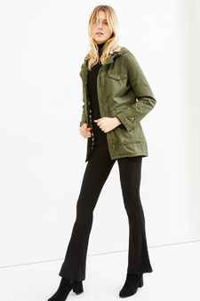 100% cotton parka with fur lining, Green, hi-res