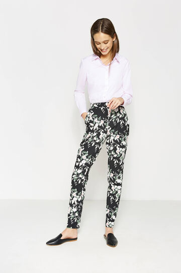 Stretch jersey trousers, White/Black, hi-res