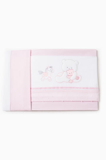 Solid colour sheet with animal patch, Pink, hi-res