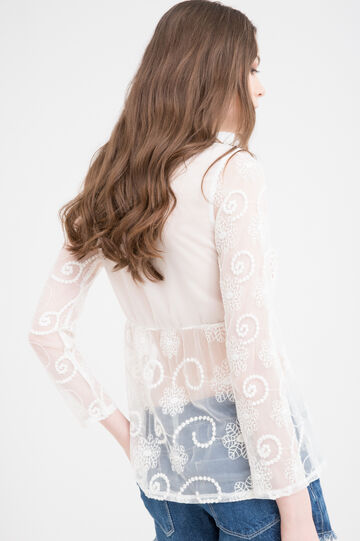 Plain semi-sheer blouse with embroidery., Cream White, hi-res