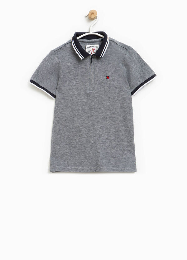 100% cotton polo shirt with zip and embroidery | OVS