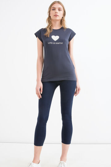 T-shirt puro cotone stampa, Blu scuro, hi-res