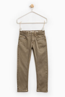 Solid colour slim-fit chino trousers, Tobacco Brown, hi-res