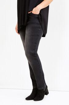 Jeans stretch effetto used Curvy, Nero, hi-res