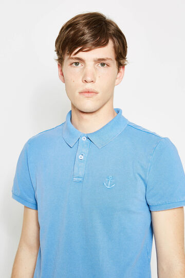 Cotton embroidered polo shirt, Light Blue, hi-res