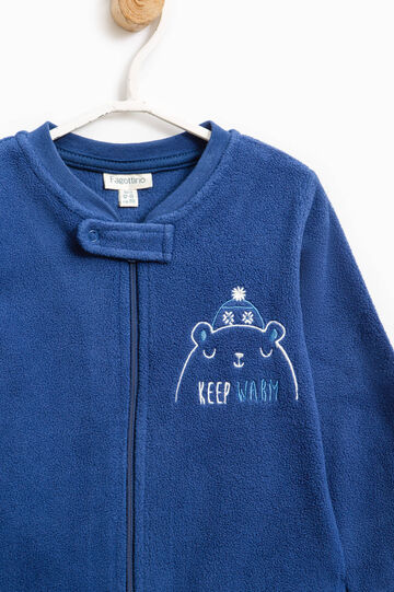 Embroidered fleece sleep suit, Navy Blue, hi-res