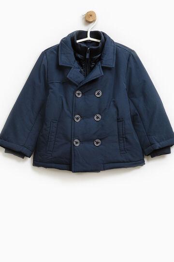 Solid colour jacket with lapels, Navy Blue, hi-res
