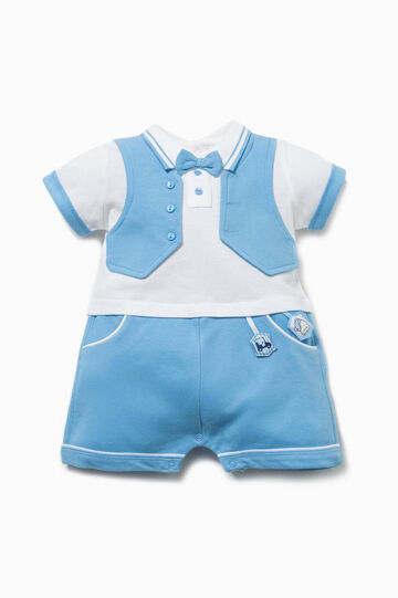 Romper suit with gilet and bow tie