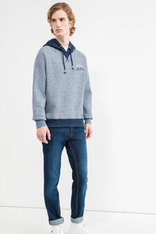 G&H cotton blend sweatshirt with V insert, Deep Blue, hi-res