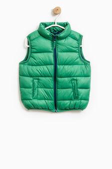 Gilet imbottito con zip a contrasto, Verde, hi-res