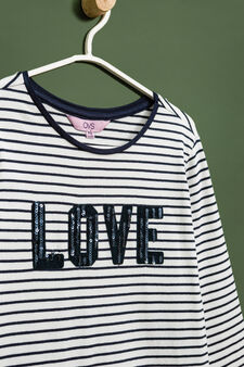Striped T-shirt with sequins and lace, White/Blue, hi-res