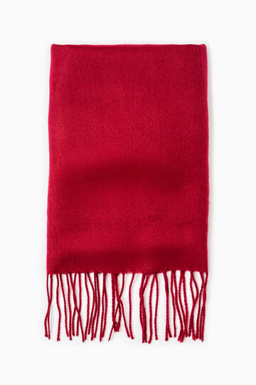 Solid colour pashmina with fringe, Red, hi-res