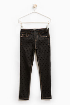 Stretch jeggings with heart pattern, Black, hi-res