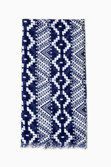 Patterned pashmina in 100% viscose, White/Blue, hi-res