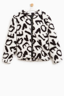 Fur sweatshirt with all-over print, White, hi-res