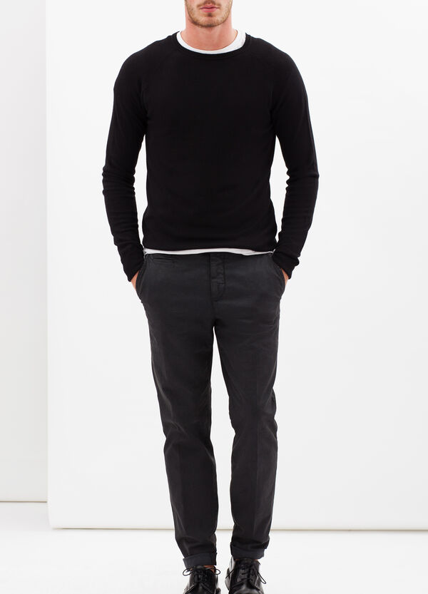 Stretch cotton trousers with crease | OVS