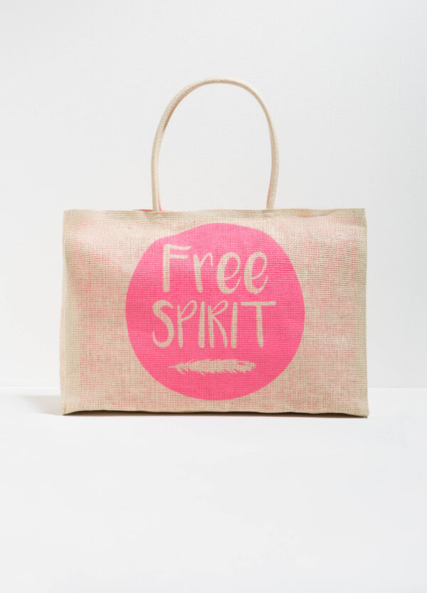 Straw beach bag with lettering print | OVS