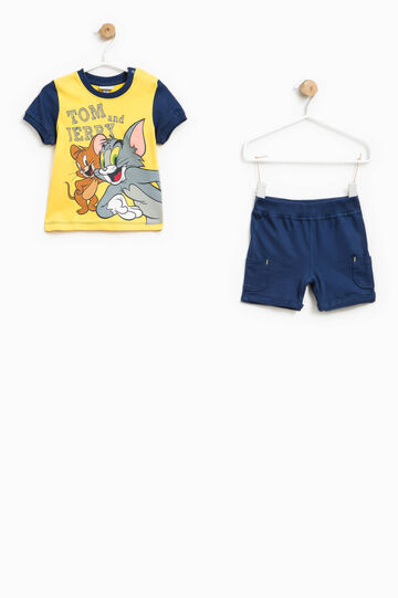 Tom and Jerry T-shirt and Bermuda shorts outfit, Blue/Yellow, hi-res