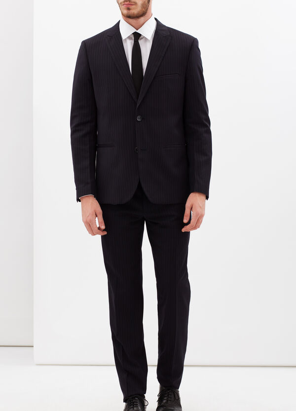 Pinstripe suit with extra-slim custom fit | OVS