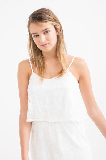 Teen solid colour jumpsuit., White, hi-res