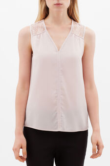 V-neck blouse with lace, Pink, hi-res