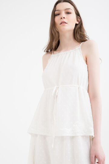 Solid colour dress with flounces and laces., White, hi-res
