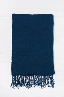 Solid colour pleated scarf, Blue, hi-res
