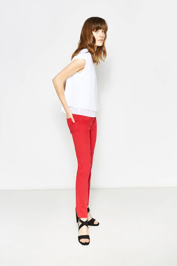 Twill trousers with zip, Red, hi-res
