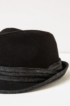 Solid colour hat with band, Black, hi-res