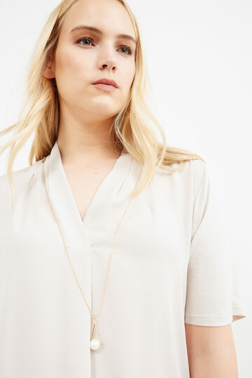 Curvy blouse in viscose blend with necklace, Chalk White, hi-res