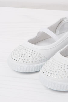 Solid colour slip-ons with diamanté motif, White, hi-res