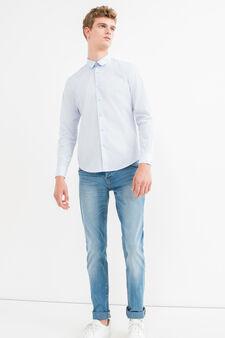 Solid colour slim-fit casual shirt, Light Blue, hi-res