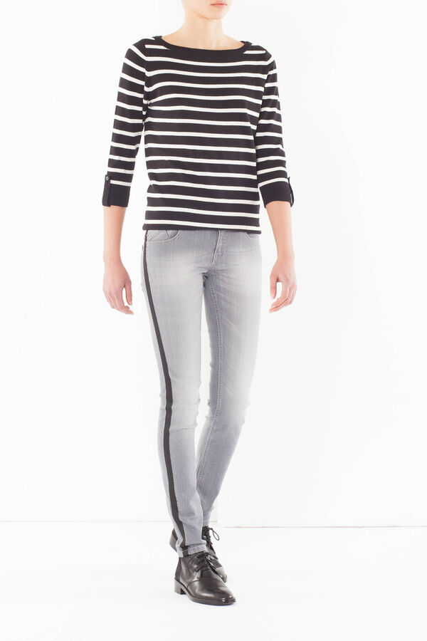 Skinny fit jeans with side contrast bands | OVS