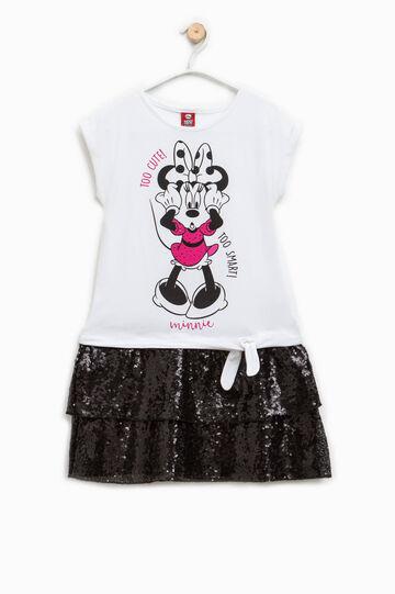Vestido con lentejuelas y estampado de Minnie, Blanco/Negro, hi-res