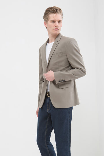 Slim-fit jacket in 100% cotton, Green, hi-res