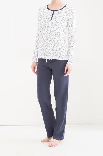 Printed pyjamas in 100% cotton, White/Blue, hi-res