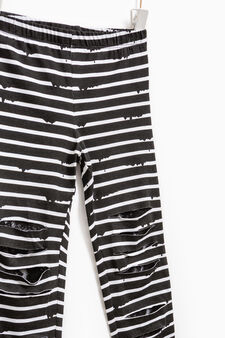 Striped leggings with rips, White/Black, hi-res
