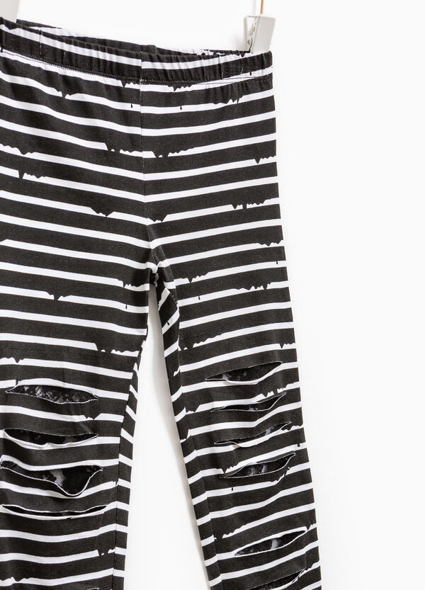Striped leggings with rips | OVS