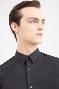 Camicia slim fit cotone stretch, Nero, hi-res