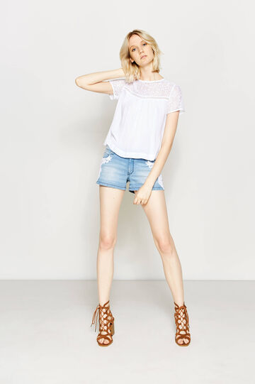 Shorts di jeans regular fit pizzo