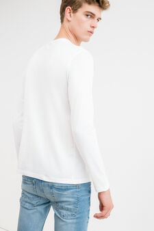 Long-sleeved 100% cotton T-shirt, Off-white, hi-res