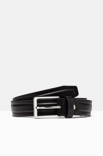 Leather look belt with double stitching, Black, hi-res
