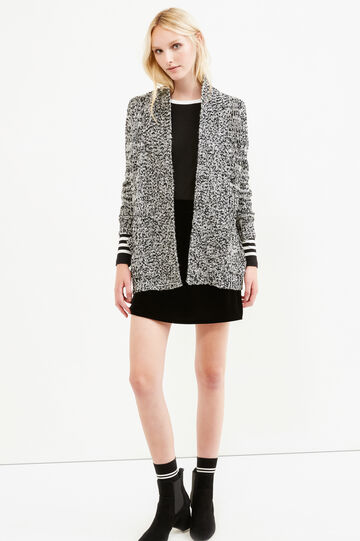 Long cardigan with three-quarter sleeves, White/Black, hi-res